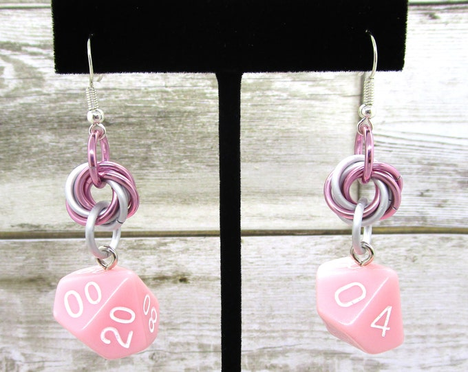 Cherry Blossom Mobius Dice Earrings - D10 and D% Earrings - D&D Earrings - DND Earrings - DnD Dice