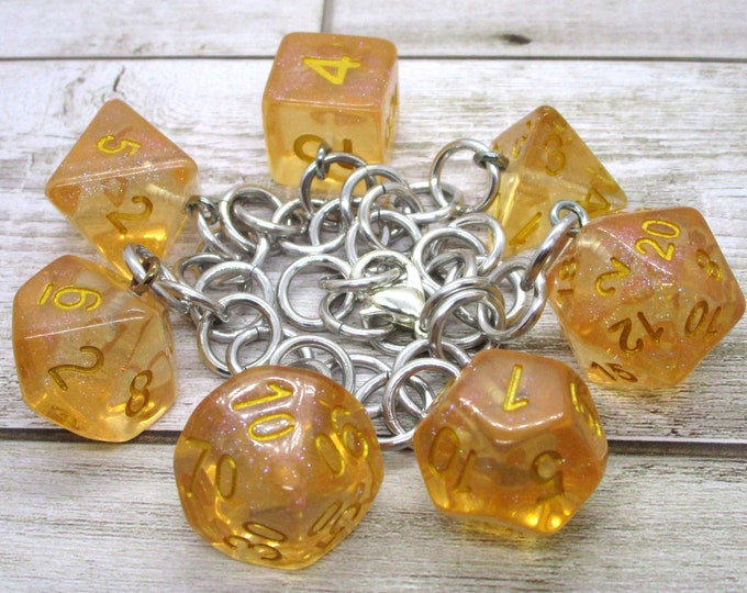 Iridescent Orange Polyhedral Dice Set Charm Bracelet - Dungeons and Dragons  Dice - DnD Dice