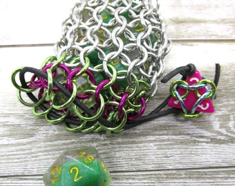 Lime Green and Magenta Single Set Chainmaille Dicebag - Holds One Set of Dice - Health and Mana - Dice -  Handmade - Chainmail
