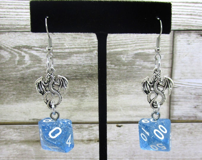 Ice Dragon Dice Earrings - D10 and D% Earrings - D&D Earrings - DND Earrings - DnD Dice