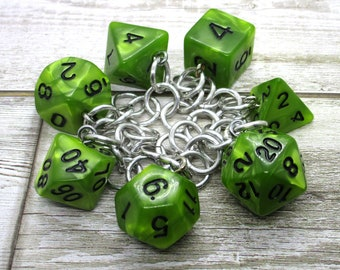 Swamp Ooze Polyhedral Dice Set Charm Bracelet - Dungeons and Dragons  Dice - DnD Dice