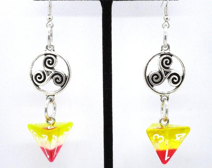 Sunrise Celtic Charm D4 Earrings - D&D Earrings - DND Earrings - DnD Dice - Dice Earrings