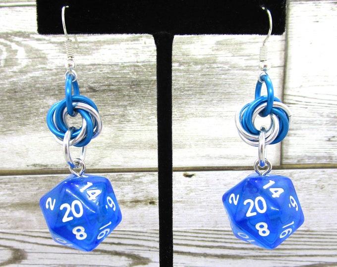 Blue Translucent Mobius Nat 20 Earrings - D20 Earrings - D&D Earrings - DND Earrings - DnD Dice - Dice Earrings - Mobius Charm