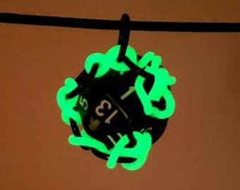 Glow in the Dark Removable 20 Sided Die Pendant - Functional - Chainmaille Pendant - D20 - Dice Pendant