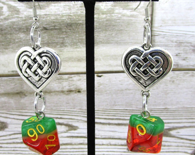 Watermelon Celtic Heart Dice Earrings - D10 and D% Earrings - D&D Earrings - DND Earrings - DnD Dice