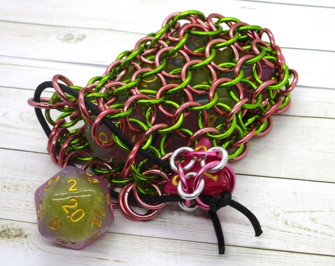 Slime Green and Pickled Ginger Single Set Chainmaille Dice Bag - Dicebag -  Handmade - Chainmail