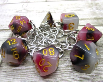 Bloodstone Jade Polyhedral Dice Set Charm Bracelet - Dungeons and Dragons  Dice - DnD Dice
