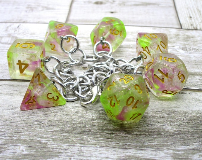 Dragon's Breath Polyhedral Dice Set Charm Bracelet - Dungeons and Dragons  Dice - DnD Dice