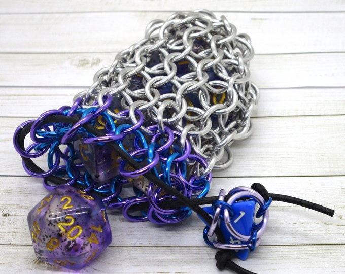 Poison Purple and Turquoise Accent Single Set Chainmaille Dice Bag - Dicebag -  Handmade - Chainmail