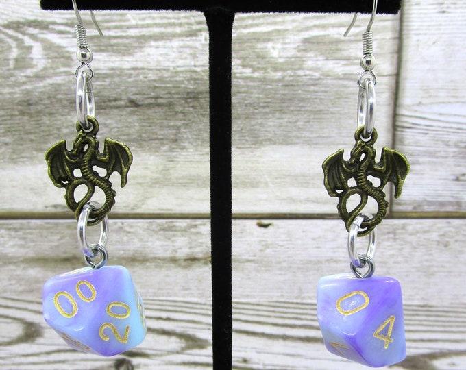 Warlock's Whispers Bronze Dragon Dice Earrings - D10 and D% Earrings - D&D Earrings - DND Earrings - DnD Dice