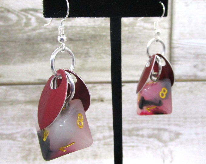 Wings of the Bloodstone Sprite -  D8 Earrings - D&D Earrings - DND Earrings - DnD Dice