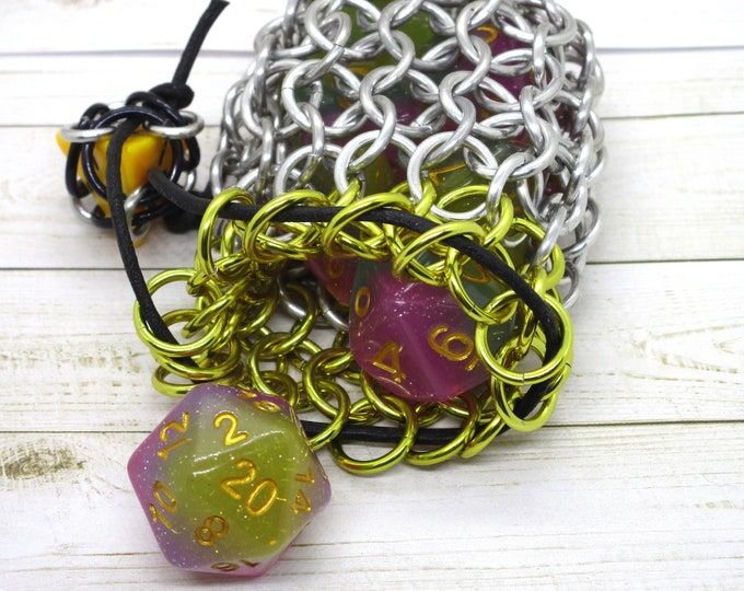 Shiny Yellow Accent Single Set Chainmaille Dice Bag - Dicebag -  Handmade - Chainmail