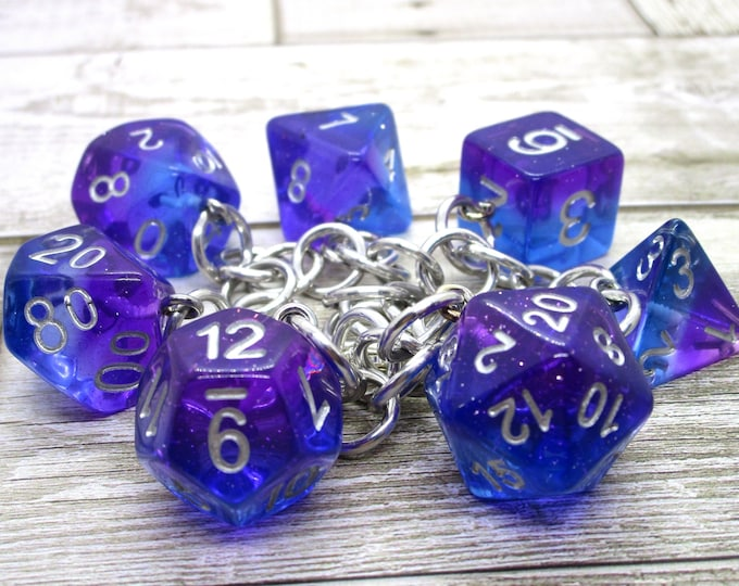 Twilight Sky Polyhedral Dice Set Charm Bracelet - Dungeons and Dragons  Dice - DnD Dice