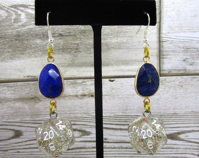 Lapis Lazuli and Rainbow Glitter Nat 20 Earrings - D20 Earrings - D&D Earrings - DND Earrings - Dice Earrings