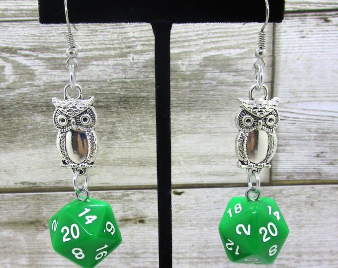 Field Owl Companion Nat20 Earrings  - D20 Earrings - D&D Earrings - DND Earrings - Dice Earrings
