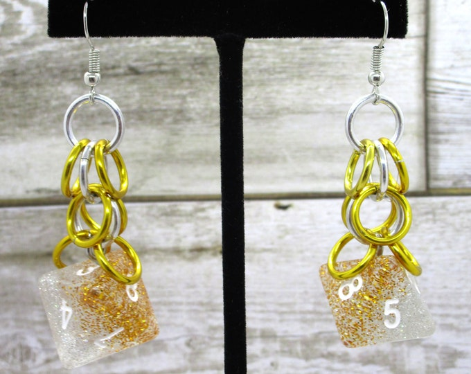 Silver and Gold Shaggy -  D8 Earrings - D&D Earrings - DND Earrings - DnD Dice