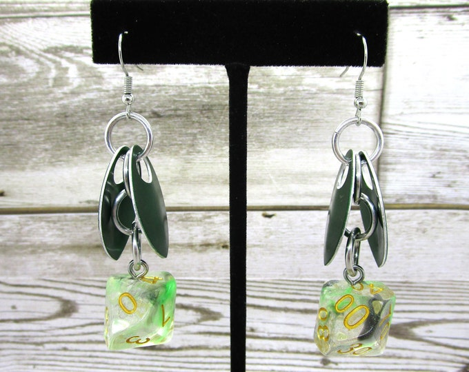 Wings of the Venomous Dragonfly Dice Earrings - D10 and D% Earrings - D&D Earrings - DND Earrings - DnD Dice