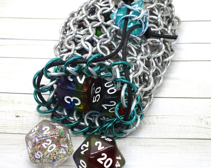 Mermaid Green and White Accent Silver Chainmaille Dice Bag -  Double Set Bag