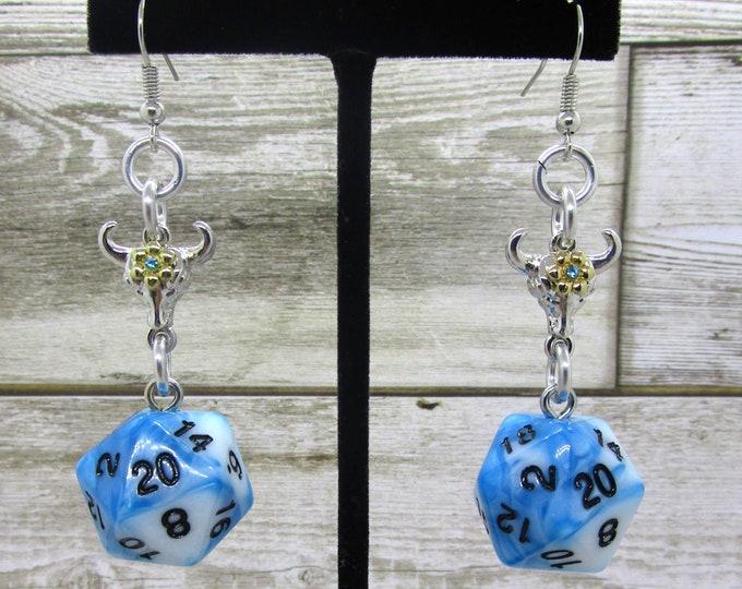 Bull Companion Nat20 Earrings  - D20 Earrings - D&D Earrings - DND Earrings - Dice Earrings - Green Dice