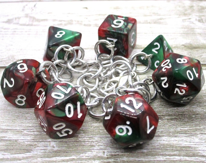 Holly Jolly Polyhedral Dice Set Charm Bracelet - Dungeons and Dragons  Dice - DnD Dice - Christmas Dice - Red and Green Dice