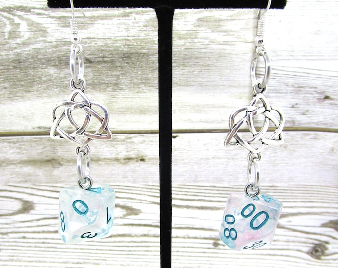 Winter Walker Celtic Charm Dice Earrings - D10 and D% Earrings - D&D Earrings - DND Earrings - DnD Dice