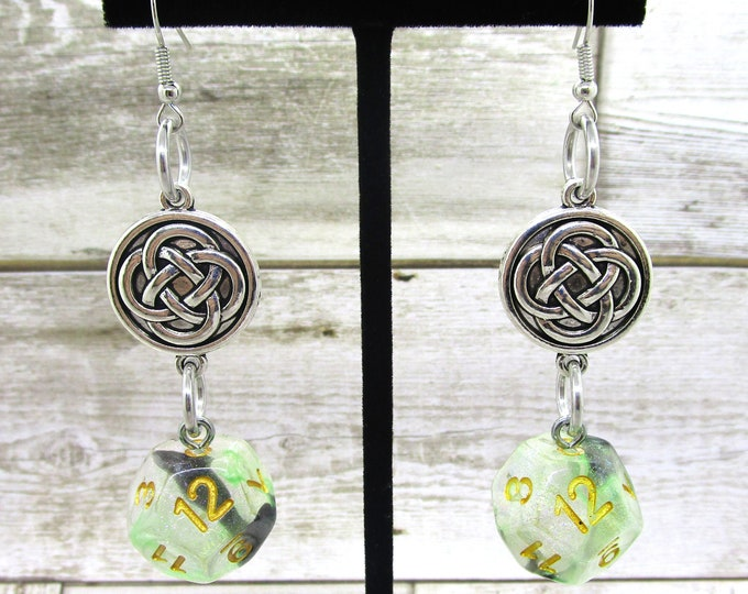 Luminous Venom Celtic Charm Earrings D12 - D&D Earrings - DND Earrings - DnD Dice - Dice Earrings