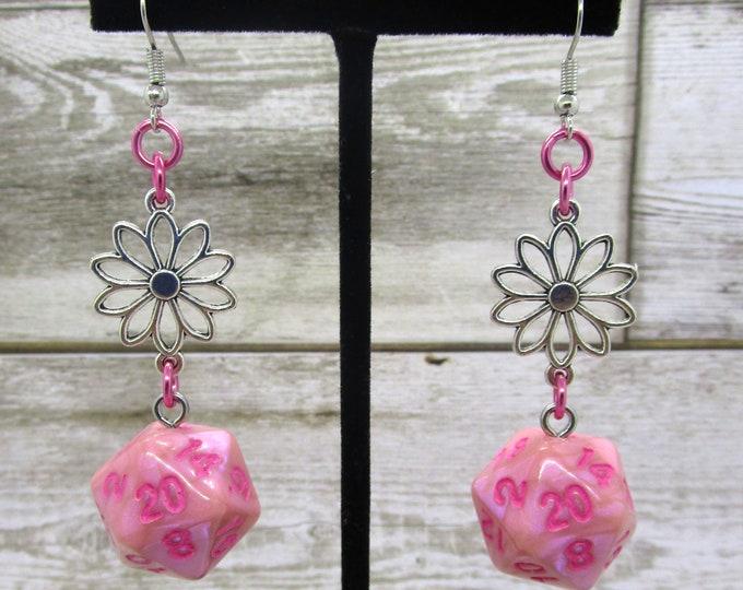 Pink Flowers Nat20 - D20 Earrings - D&D Earrings - DND Earrings - Dice Earrings - Green Dice