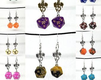 Random Dragon Nat 20 Earrings - D20 Earrings - D&D Earrings - DND Earrings - Dice Earrings