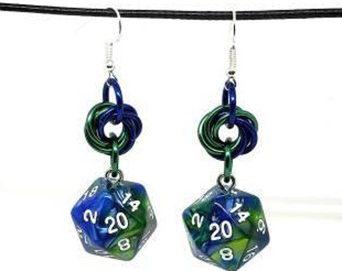 Green and Blue Earth Nat 20 Earrings - D20 Earrings - D&D Earrings - DND Earrings - Dice Earrings