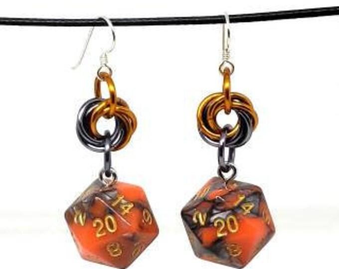 Orange and Steel Swirl Nat 20 Earrings - D20 Earrings - D&D Earrings - DND Earrings - Dice Earrings