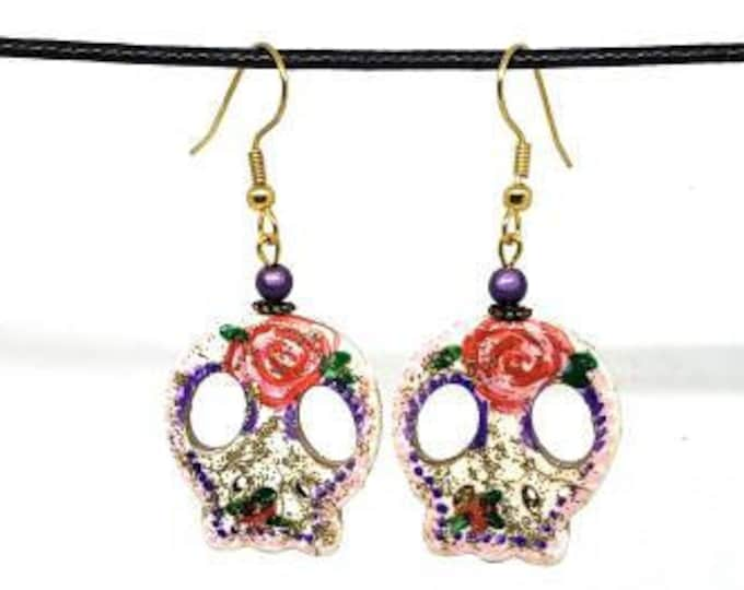 Pink and Purple Glittery Vibrant Festive One of a Kind Hand Painted Sugar Skull Earrings