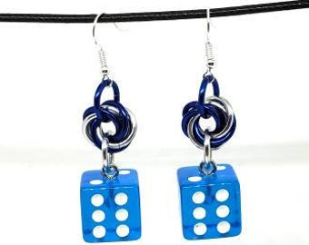 Translucent Blue and White Pipped Dice Earrings - D6 Earrings - D&D Earrings - DND Earrings - Yahtzee Dice - DnD Dice