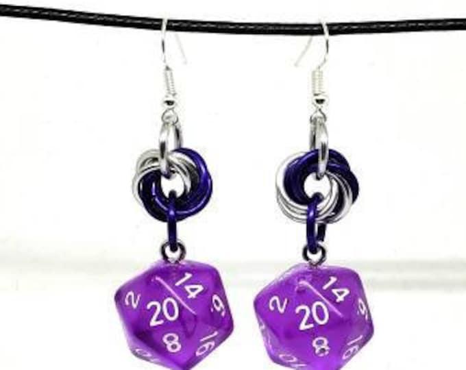 Translucent Purple Nat 20 Earrings - D20 Earrings - D&D Earrings - DND Earrings - Dice Earrings