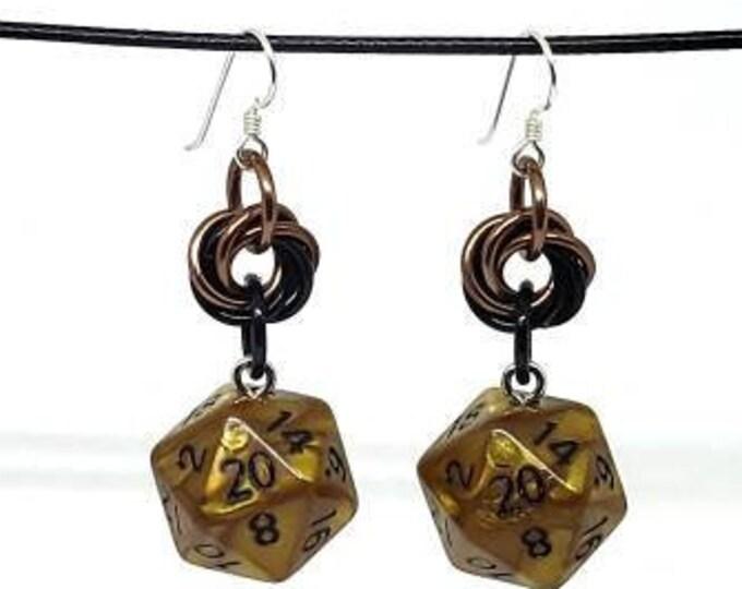 Bronze Shimmer Nat 20 Earrings - D20 Earrings - D&D Earrings - DND Earrings - Dice Earrings