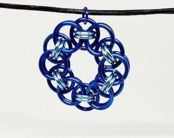 Blue and Light Blue Chainmaille Pendant and Earring Set