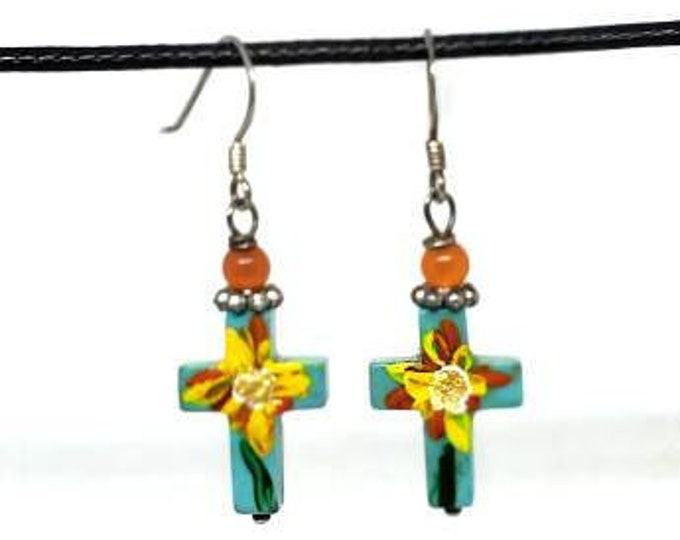 Blue with Yellow and Orange Flowers One of a Kind Hand Painted Small Cross Earrings
