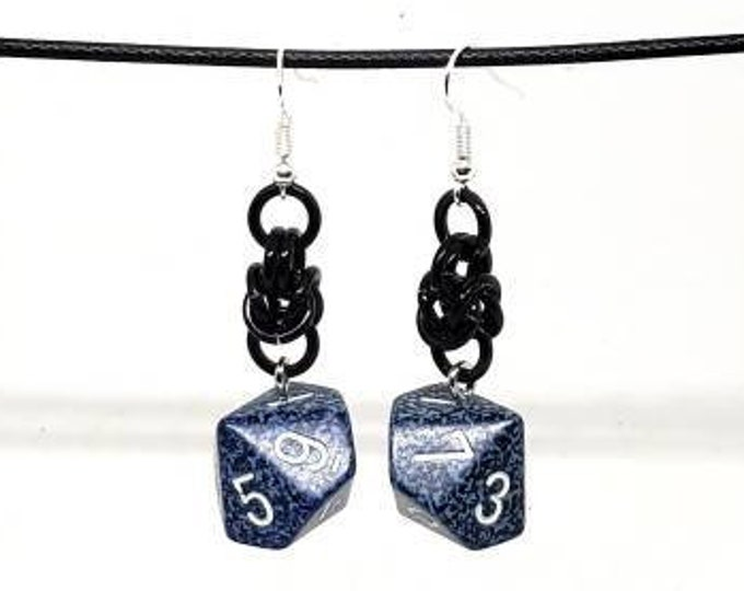 Blue Speckled Dice Earrings - D10 Earrings - D&D Earrings - DND Earrings - DnD Dice