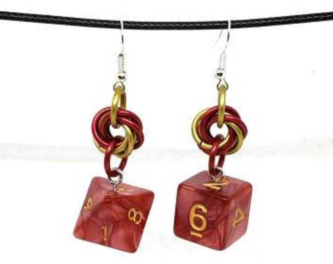 Red Swirl Dice Earrings - D6 and D8 Earrings - D&D Earrings - DND Earrings - DnD Dice