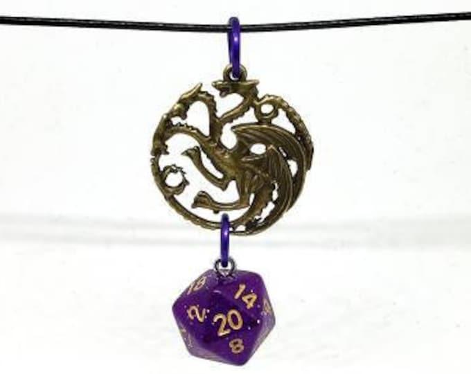 Bronze Tone Three Headed Dragon Purple Glitter Nat 20 Pendant - Dungeons and Dragons Pendant - D&D Dice - Dice Pendant