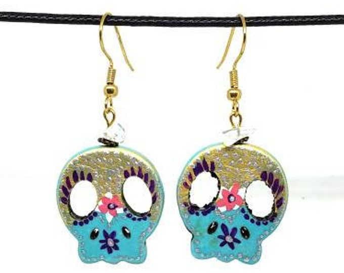 Gold and Blue One of a Kind Hand Painted Sugar Skull Earrings