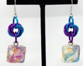 Violet Storm Earrings D10/D00 - D&D Earrings - DND Earrings - DnD Dice - Dice Earrings