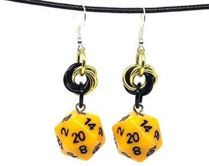 Yellow and Black Nat 20 Earrings - D20 Earrings - D&D Earrings - DND Earrings - DnD Dice - Dice Earrings - Mobius Charm