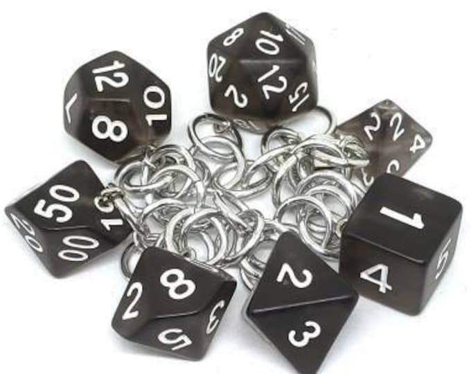 Black Smoke Polyhedral Dice Set Charm Bracelet - Dungeons and Dragons  Dice - DnD Dice