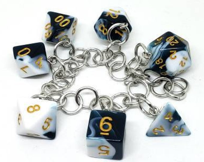 Blueberry Milkshake Polyhedral Dice Set Charm Bracelet - Charm Necklace - Dungeons and Dragons Dice - DnD Dice - Dark Teal and White Swirl
