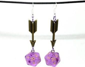 Translucent Lavender Arrow Charms Nat 20 Earrings - D20 Earrings - D&D Earrings - DND Earrings - Dice Earrings