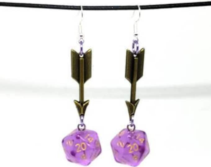 Translucent Lavender Arrow Charms Nat 20 Earrings - D20 Earrings - D&D Earrings - DND Earrings - Dice Earrings
