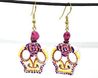 Pink and Purple Vibrant Festive One of a Kind Hand Painted Sugar Skull Earrings