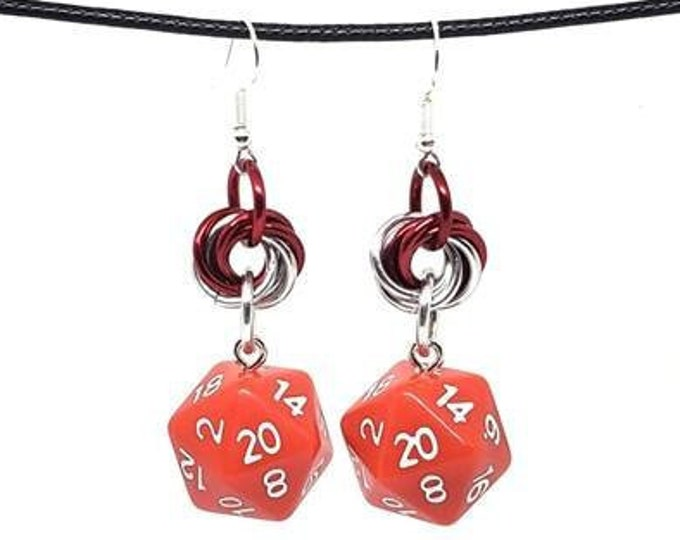 Opaque Red Nat 20 Earrings - D20 Earrings - D&D Earrings - DND Earrings - DnD Dice - Dice Earrings - Mobius Charm