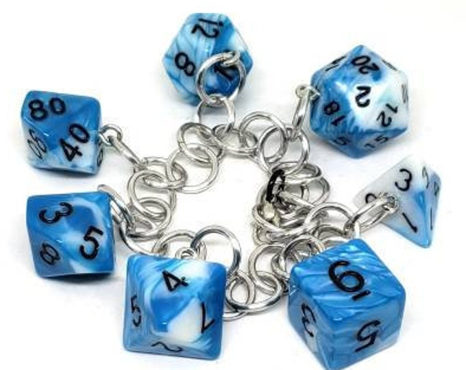 Sky Swirl Polyhedral Dice Set Charm Bracelet - Dungeons and Dragons  Dice - DnD Dice