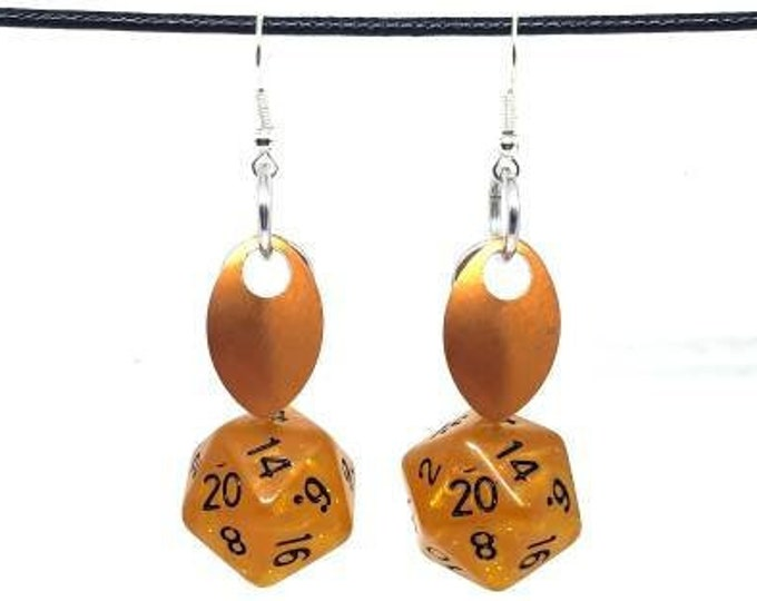 Scale of the Orange Dragon Nat 20 Earrings - D20 Earrings - D&D Earrings - DND Earrings - Dice Earrings